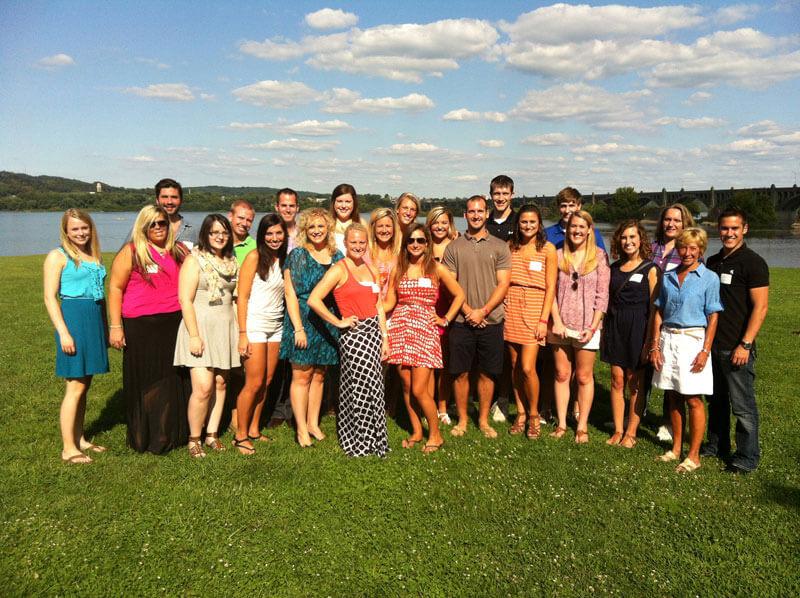 alumni group reunion at river