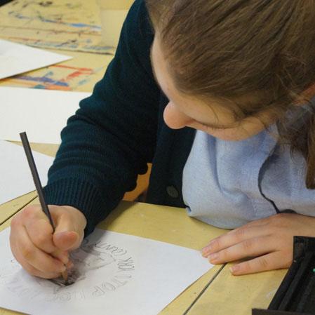 female sketching